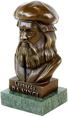 Buste Léonard de Vinci en Albâtre Décoration Renaissance