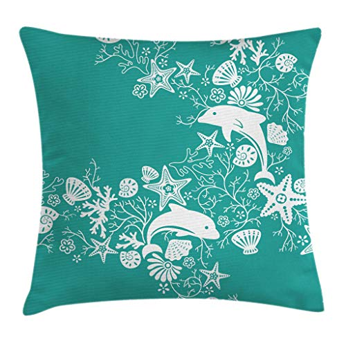 - Ambesonne Sea Animals Throw Pillow Cushion Cover, Dolphins Flowers Sea Life Floral Pattern Starfish Coral Seashell Wallpaper, Decorative Square Accent Pillow Case, 24 X 24 Inches, Sea Green White