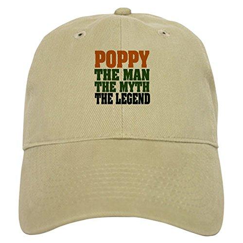 CafePress Poppy - The Legend Cap Baseball Cap with Adjustable Closure, Unique Printed Baseball Hat Khaki