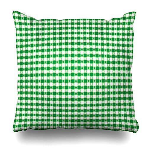 (Ahawoso Throw Pillow Cover Classic Green Picnic Gingham Check Tints Abstract Bistro Cafe Checkerboard Crafts Design Old Decorative Cushion Case 18x18 Inches Square Home Decor Pillowcase)