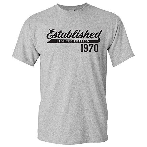 UGP Campus Apparel Established 1970 - Limited Edition Generation X Millennial Birthday T Shirt - X-Large - Sport Grey