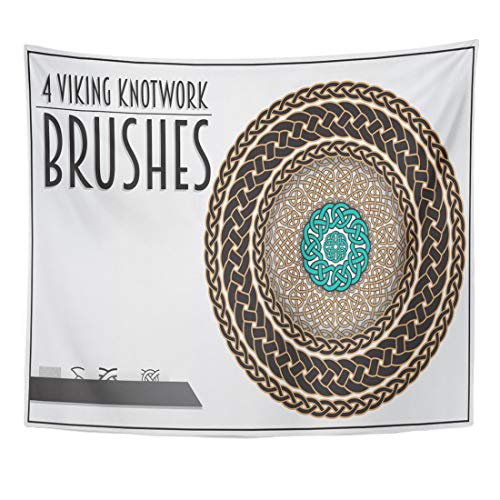 Semtomn Tapestry Weave Brush of Viking Knotwork Celtic Medieval Circle Border Home Decor Wall Hanging for Living Room Bedroom Dorm 50x60 Inches
