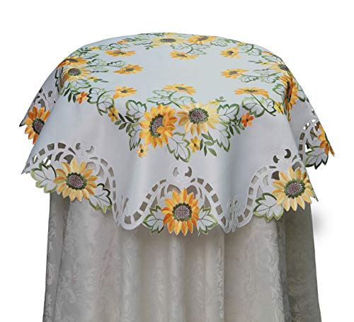(Creative Linens Sunflower Tablecloth Embroidered Cutwork Table Cloth 33