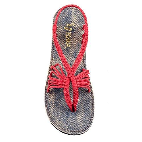 - Plaka Flat Summer Sandals for Women Red 9 Seashell