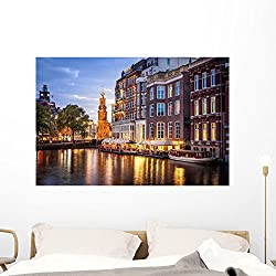 Amsterdam Canals Wall Mural by Wallmonkeys Peel and Stick Graphic (48 in W x 32 in H) WM362337