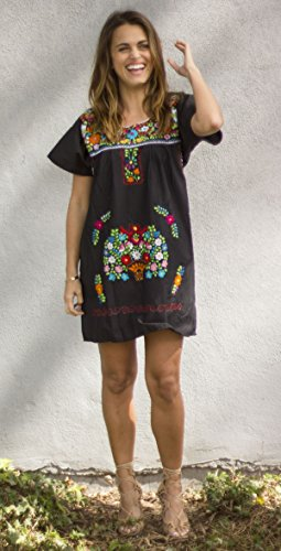 Liliana Cruz Embroidered Mexican Peasant Mini Dress (Black size X-large) by Liliana Cruz (Image #3)