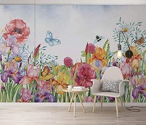 Duvarkapla Renkli Cicek Suluboya Boyama Duvar Sanati Desenler