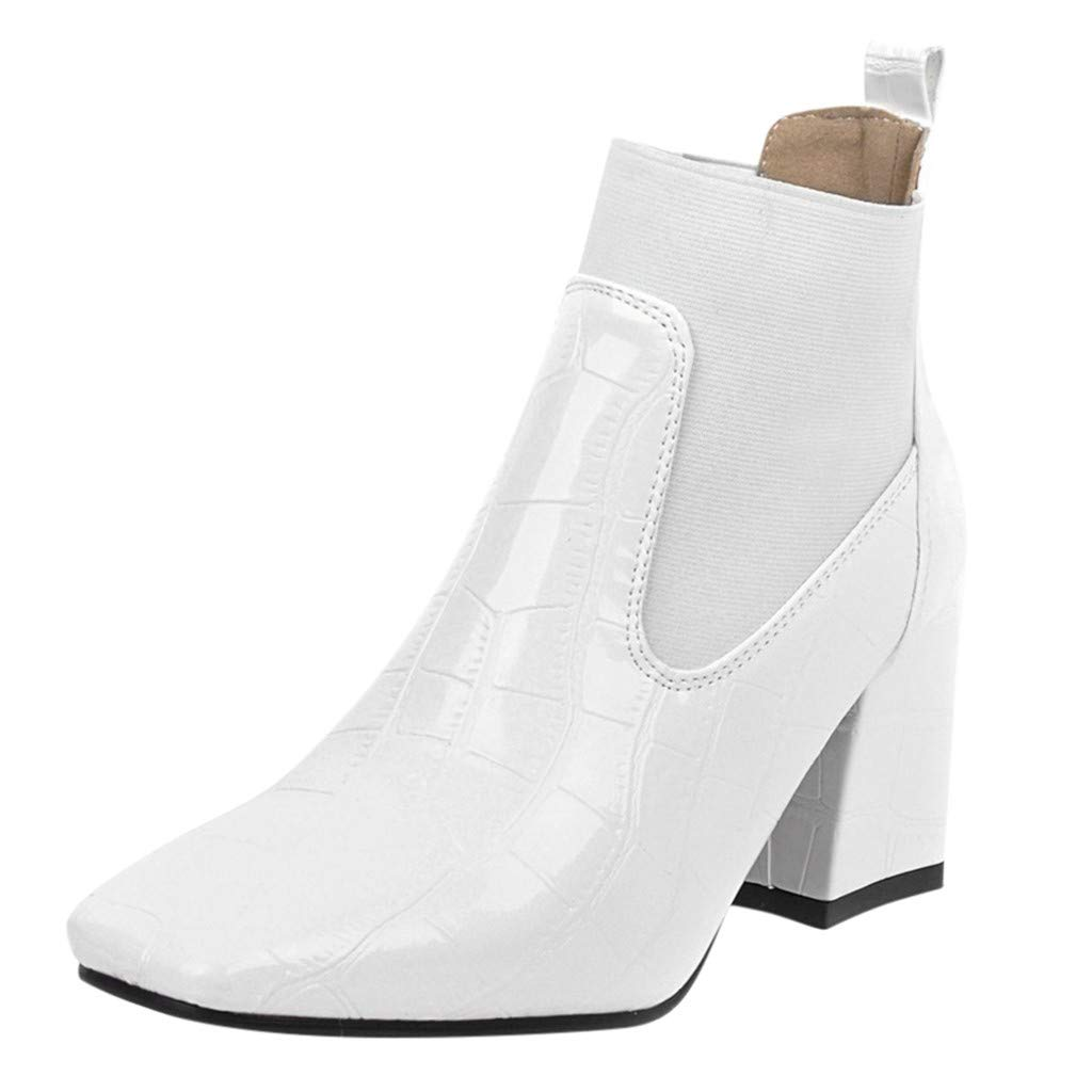 ZOMUSAR Women's Boots, Fashion Women Square Heels Zipper Crocodile Pattern Short Boots Square Toe Shoes White by ZOMUSAR