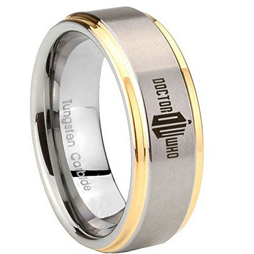 10MM Tungsten Carbide Dr Who Doctor Time Design Bad Wolf 14K Gold IP Two Tone Engraved Ring Size 14