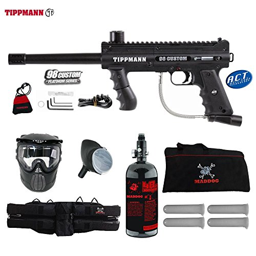 Accessories Tippmann Model 98 (MAddog Tippmann 98 Custom ACT Beginner HPA Paintball Gun Package - Black)