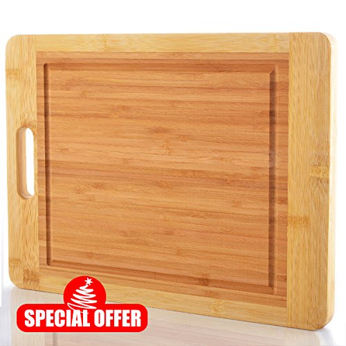 Comllen Thick Strong Bamboo Cutting Board with Drip Groove and Handle, Extra Large 15 x 12 Inch Bamboo Wood Cutting Board