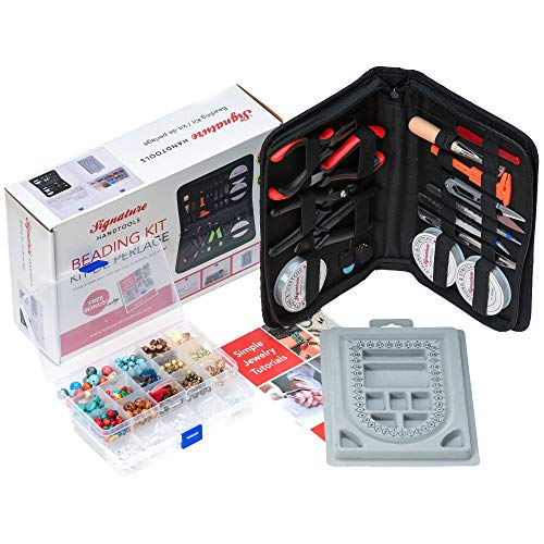 The Ultimate Beading Set & Jewelry Making Kit for Adults, Complete Supplies Set with Beads, Tools, Beadboard, String, Setup Guide, Design Unique Earrings, Bracelets, Necklaces, DIY Craft ()