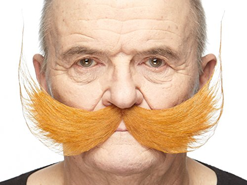 Mustaches Self Adhesive Fake Mustache, Novelty, Fisherman's False Facial Hair, Costume Accessory for Adults, Ginger Colors
