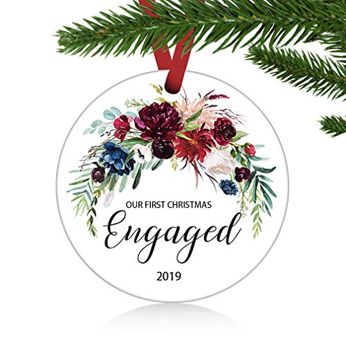 ZUNON Engagement Ornament Gift Christmas Ornament Engaged Ornament Engaged Christmas Ornament Just Engaged Wedding Decoration 3