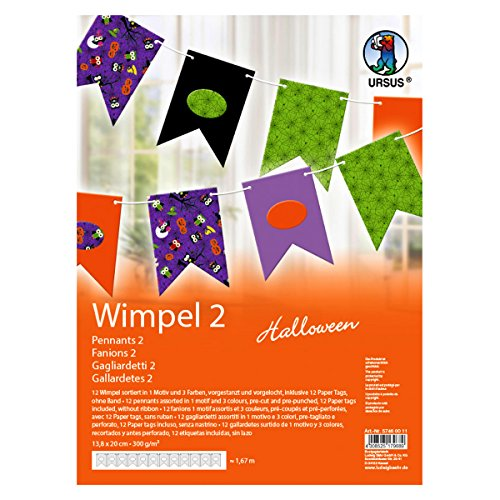 Ursus 57460011 Halloween Triangular Banners Pack of 12 Assorted Colours ()