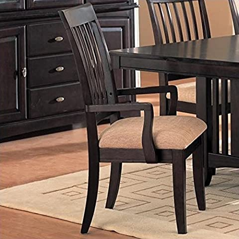 Coaster Monaco Dining Arm Chair with Fabric Seat in Rich Dark Cappuccino - Cappuccino Finish Birch Veneer