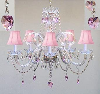 CHANDELIER LIGHTING W CRYSTAL PINK SHADES HEARTS H25 x W24 – PERFECT FOR KID S AND GIRLS BEDROOM
