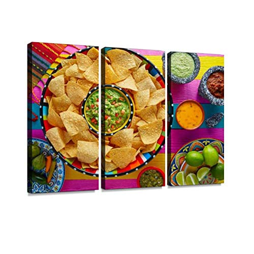 BELISIIS Nachos with Guacamole Tortilla Chips Sombrero Wall Artwork Exclusive Photography Vintage Abstract Paintings Print on Canvas Home Decor Wall Art 3 Panels Framed Ready to Hang -