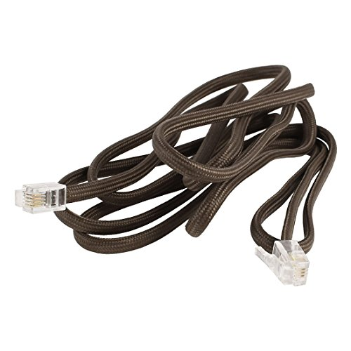 Uxcell Nylon Coated RJ9 4P4C Plug Telephone Handsets Cable Line, 5-Feet, Brown