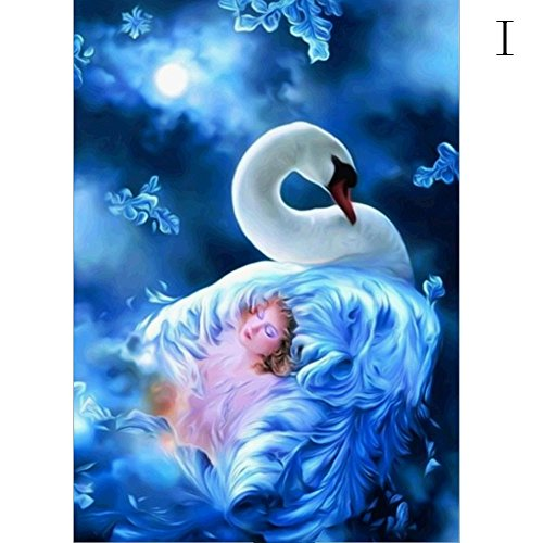 - Chenway 5D Diamond Painting Kit, Point Drill Embroidery Paint with Diamonds Wall Sticker for Linving Room Decor - (Beauty swan)