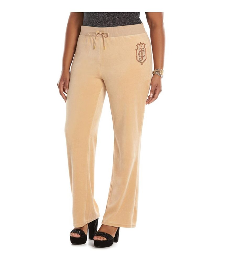 Juicy Couture Womens Velour Graphic Bootleg Athletic Sweatpants Beige 2X/32 - Plus Size