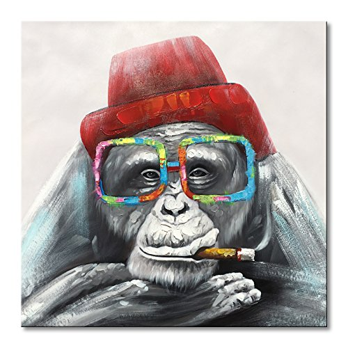 EVERFUN ART Everfun Framed Canvas Wall Art Gorilla Monkey In a Red Hat Handmade Animal Oil Painting Abstract Home Decor for Bedroom Ready to Hang 32x32 ()