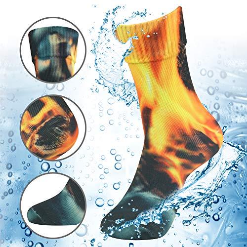 RANDY SUN 100% Waterproof Camping Socks, [SGS Certified] Men's Women's Fire Image Sock Snow Skiing Snowboard Fun Color Athletic Socks Large