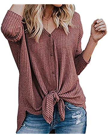 58cb6d6bae9640 Womens Waffle Knit Tunic Blouse Tie Knot Henley Tops Loose Casual Fitting  Bat Wing Plain Shirts
