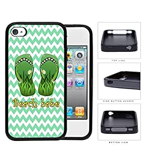Beach Babe Sandals With Daisy Flowers Green Chevron Rubber Silicone TPU Cell Phone Case Apple iPhone 4 4s