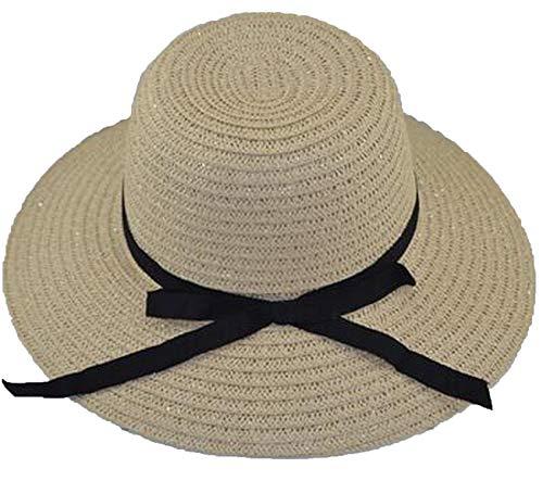 Women's Straw Panama Sun Hat Black Striped Overflowed Floppy Fashion ()