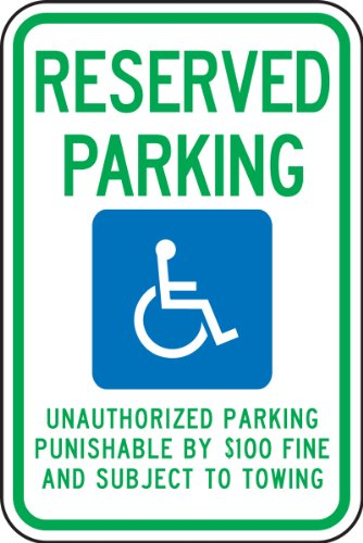 Accuform Signs FRA211RA Engineer-Grade Reflective Aluminum Handicapped Parking Sign (Tennessee), Legend