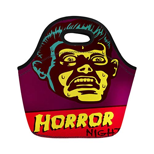Semtomn Lunch Tote Bag Horror Night Halloween Party Movie Event Terrified Vintage Man Reusable Neoprene Insulated Thermal Outdoor Picnic Lunchbox for Men Women