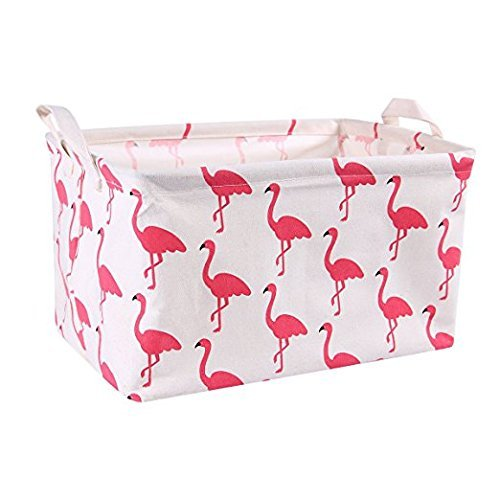 Gift Wire - Flamingo Toy Storage Bins Canvas Collapsible Storage Basket with Handles Toy Organizer for Nursery, Kid's Toys, Closet & Laundry, Gift Basket by Mofeng