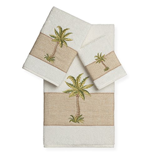 PH 3 Piece Cream Palm Tree Embroidered Towel Set with 27 X 54 Inches Bath Towel, Off White Applique Embellished Textured Woven Border Soft Absorbent Cozy Elegant Trendy Stylish Towels, Turkish Cotton