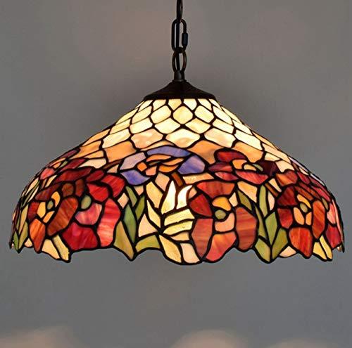 Art Pendant Light in Dining Room Tiffany Style Decorative Chandelier for 16Inch Flower Stained Glass Corridor Light Fixture,110V-240V/Bulb Not Included/E27(4090Cm) ()