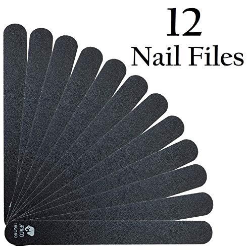 (JPACO 12 PCS Professional Black Nail Files 100 100 Grit)