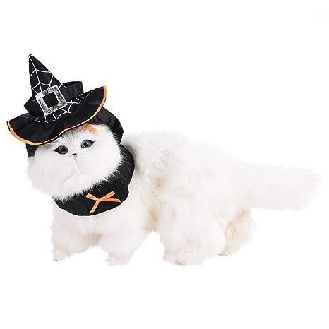 Fdit Socialme-EU Haloween Cosplay de Gatos Sombrero Señalado Mago de Decoración Animal Doméstico Vestido