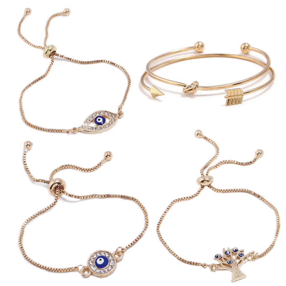 ISAACSONG.DESIGN Bohemian Evil Eye Love Knot Charm Adjustable Bolo Chain Link and Bangle Cuff Bracelet Set for Women and Girls (5 Pcs Evil Eye Set)