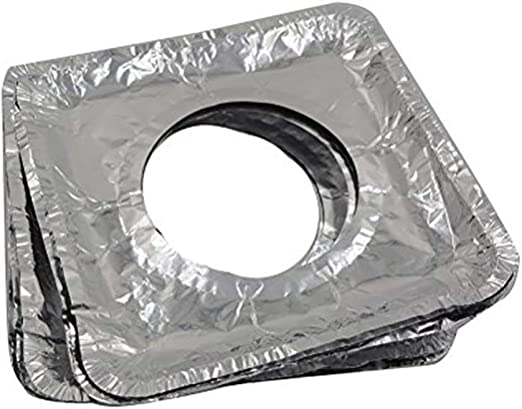 Pack of 50. 8.5 Inch Party Bargains Square Burner Bibs Disposable Aluminum Foil Gas Stove Protector Burner Bib Liners Cover