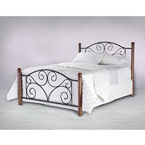 Doral Complete Bed with Metal Panels and Dark Walnut Wood Posts, Matte Black Finish, Full