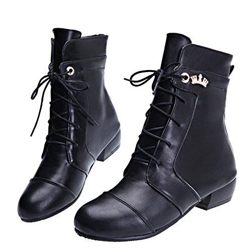 Allhqfashion Dames Low-top Lace-up Zacht Materiaal Lage Hakken Ronde Gesloten Neus Laarzen Zwart