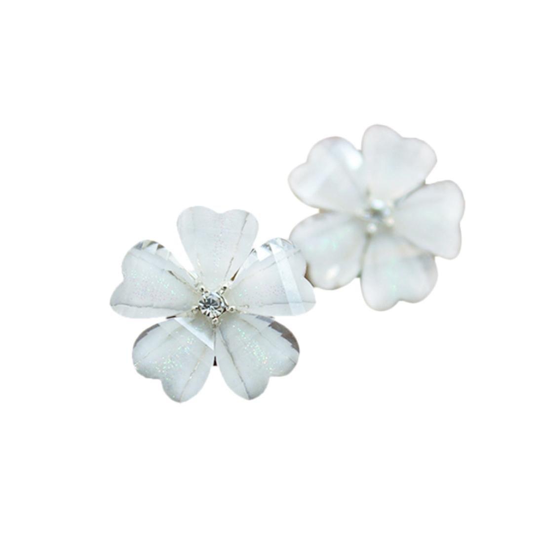 Alixyz Lovely Flower Crystal Earrings Fashion Design Circle Stud Earrings
