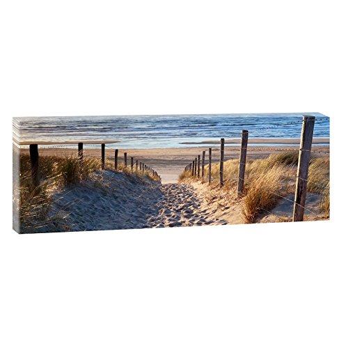 Weg zum Nordseestrand | Panoramabild im XXL Format |Topseller Wandbild Poster Fotografie Trendiger Kunstdruck auf Leinwand | Verschiedene Größen und Farben (150 cm x 50 cm, Farbig)