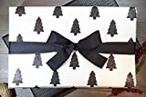 LUXURY COTTON GIFT WRAP: BLACK SPARKLE TREES (SET OF 2 ROLLS)