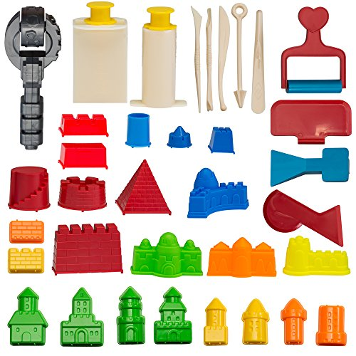 CoolSand Advanced Building Sand Molds and Tools Kit - Works with all other Play Sand Brands - 37 Pieces Includes: Castle, Bricks and walls Molds, and Tools - Sand Not (Sand Castle Molds)