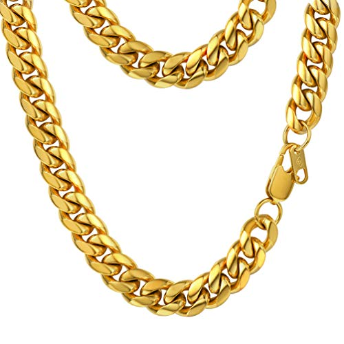 Love Link Chain - PROSTEEL Miami Cuban Link Chain 18K Real Gold Plated Hip Hop Hiphop Gold Chains for Men Women Mens Jewelry Birthday Gift