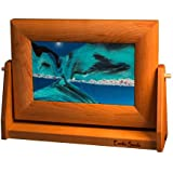 ART in MOTION by Exotic Sands - Moving Sand Art - Small Cherry Frame (Ocean Blue) Artist / Inventor Bill Tabar Craftsman. Handmade in the USA. BEST Handcrafted Gift 2015!