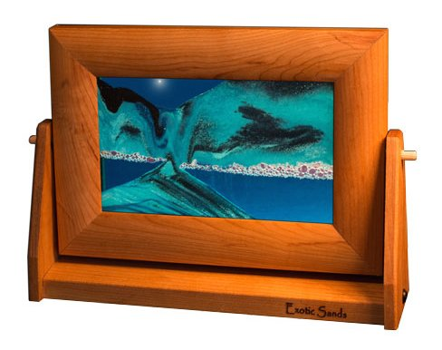 ART in MOTION by Exotic Sands – Moving Sand Art – Small Cherry Frame (Ocean Blue) Artist / Inventor Bill Tabar Craftsman. Handmade in the USA. BEST Ha…