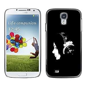 TopCaseStore / la caja del caucho duro de la cubierta de protección de la piel - Beautiful Dj Girl Woman B&W - Samsung Galaxy S4 I9500