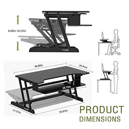Smugdesk Standing Desk, Stand up Adjustable Desk Riser Converter for Desktop Laptop Dual Monitor by Smugdesk (Image #2)'